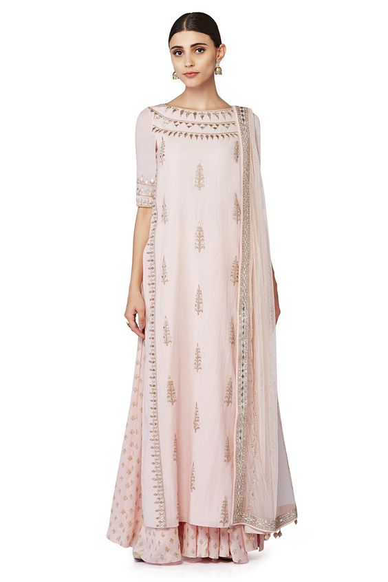 Pastel pink gota patti suit with printed sharara - Anita Dongre - Loves Notes - Spring summer collection 2016
