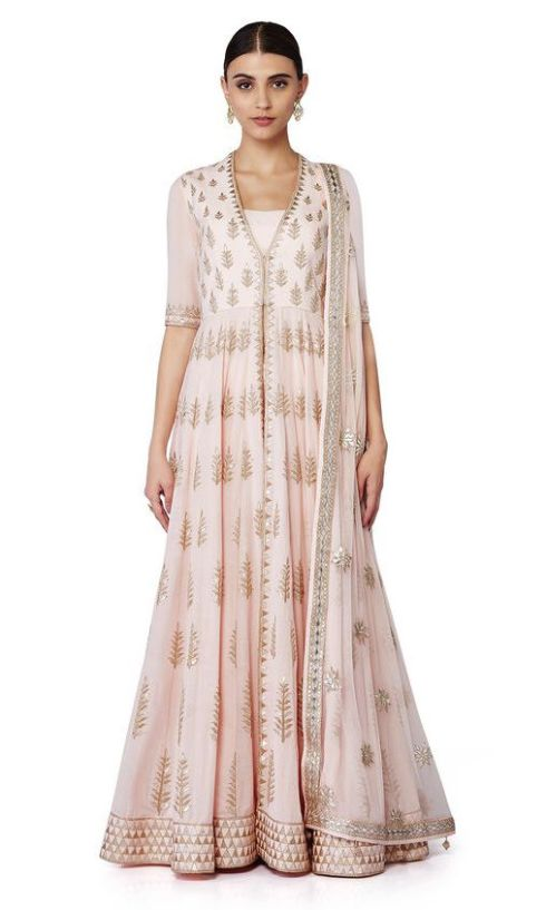 Pink pastel jacket style suit with a net dupatta and printed sharara 1 - Anita Dongre - Love Notes - Spring summer collection 2016