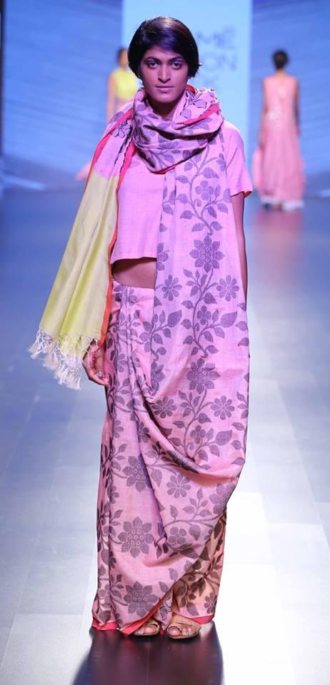 Sari - Debashri Samanta - Blush pink floral print sari - Lakme Fashion Week Summer-Resort 2016
