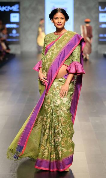 Sari - Gaurang Shah - Bottle green silk sari with elbow length blouse - front - Lakme Fashion Week Summer-Resort 2016