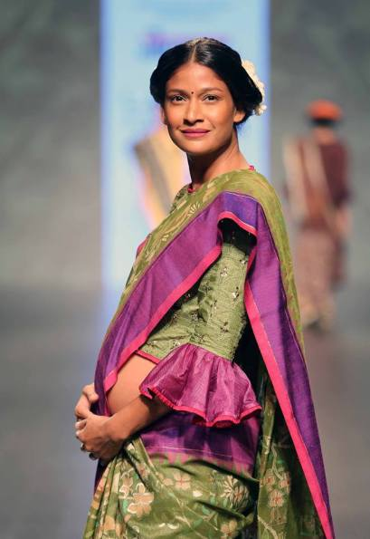 Sari - Gaurang Shah - Bottle green silk sari with elbow length blouse side - Lakme Fashion Week Summer-Resort 2016