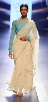 Sari - Swati and Sunaina - Ivory sari with blue blouse - Lakme Fashion Week Summer-Resort 2016