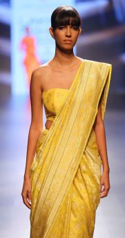 Sari - Swati and Sunaina - Yellow hued heavy silk sari - Lakme Fashion Week Summer-Resort 2016