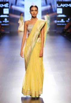 Sari - Swati and Sunaina - Yellow silk sari with silver bustier blouse - Lakme Fashion Week Summer-Resort 2016