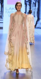 Shaded beige and sunshine yellow anarkali with scalloped dupatta by Anushree Reddy at Lakme Fashion Week Summer Resort 2016