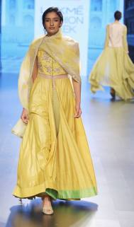 Sunshine yellow front open anarkali with embroidered yoke by Anushree Reddy at Lakme Fashion Week Summer Resort 2016