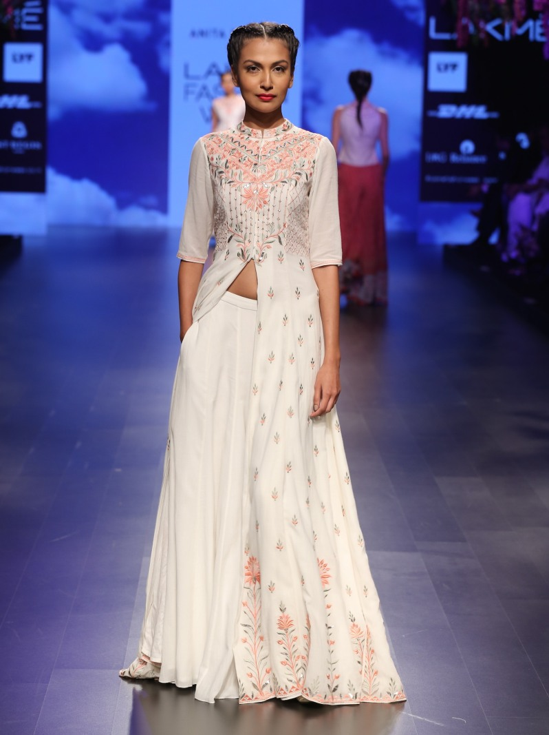 Top Pick Gota patti jacket lehenga with orange and silver embroidery | Anita Dongre Love Notes | Lakme Fashion Week 2016