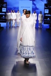 Top Pick White anarkali with blue floral print border | Anita Dongre Love Notes | Lakme Fashion Week 2016