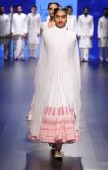 Top Pick White anarkali with pink floral print borders   Anita Dongre Love Notes   Lakme Fashion Week 2016