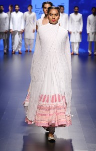 Top Pick White anarkali with pink floral print borders | Anita Dongre Love Notes | Lakme Fashion Week 2016