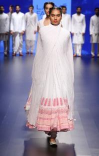 Top Pick White anarkali with pink floral print borders | Anita Dongre Love Notes | Lakme Fashion Week 2016