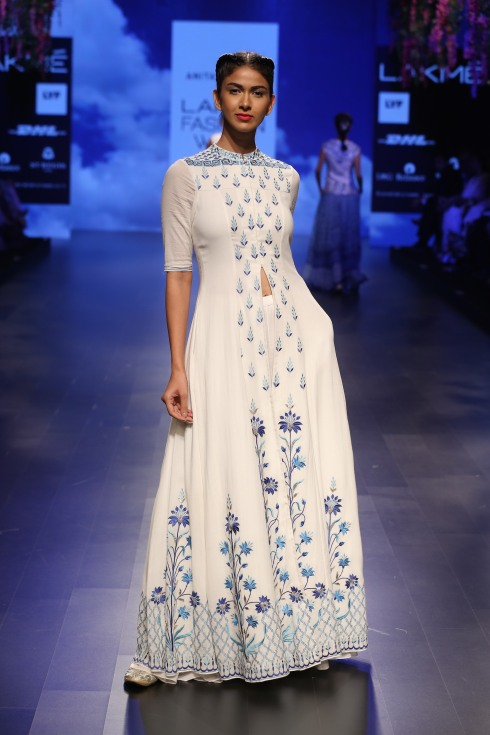 Top Pick White and blue floral threadwork jacket anarkali | Anita Dongre Love Notes | Lakme Fashion Week 2016