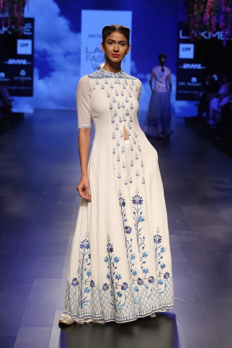 Top Pick White and blue floral threadwork jacket anarkali | Anita Dongre Love Notes | Lakme Fashion Week 2016
