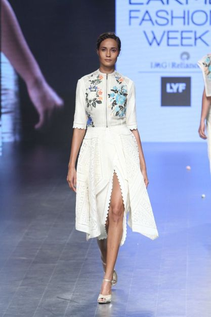 Western wear - Dress - Sahil Kochhar - Embroidered floral yoke dress in white with zipper detail - Lakme Fashion Week Summer-Resort 2016