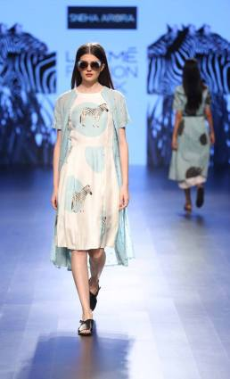 Western wear - Dress - Sneha Arora - White zebra print dress with ice blue cape style jacket - Lakme Fashion Week Summer-Resort 2016