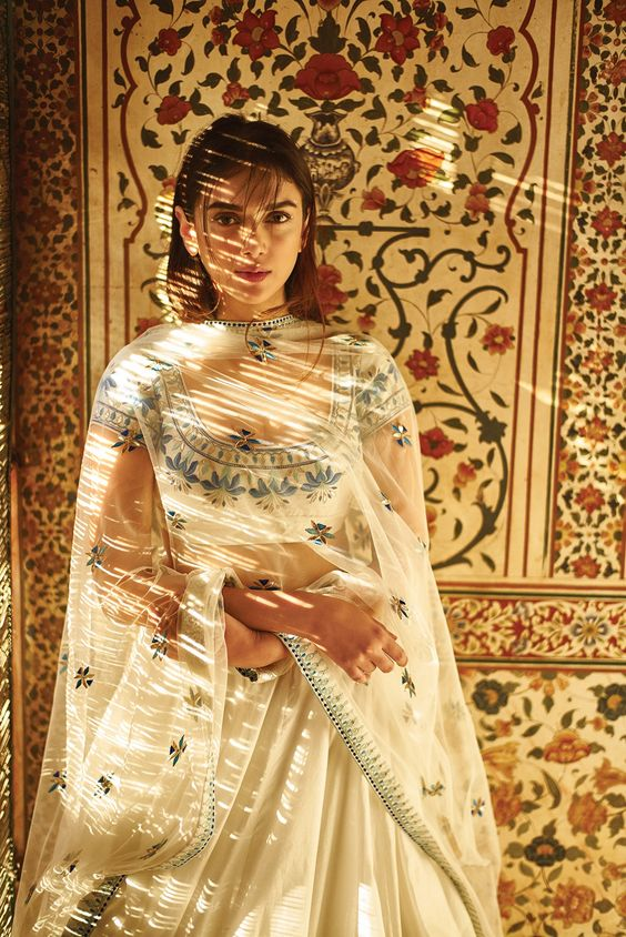 White Shaaistah chanderi lehenga choli and dupatta with resham and gota patti embroidery - Anita Dongre - Love Notes - Spring Summer collection 2016