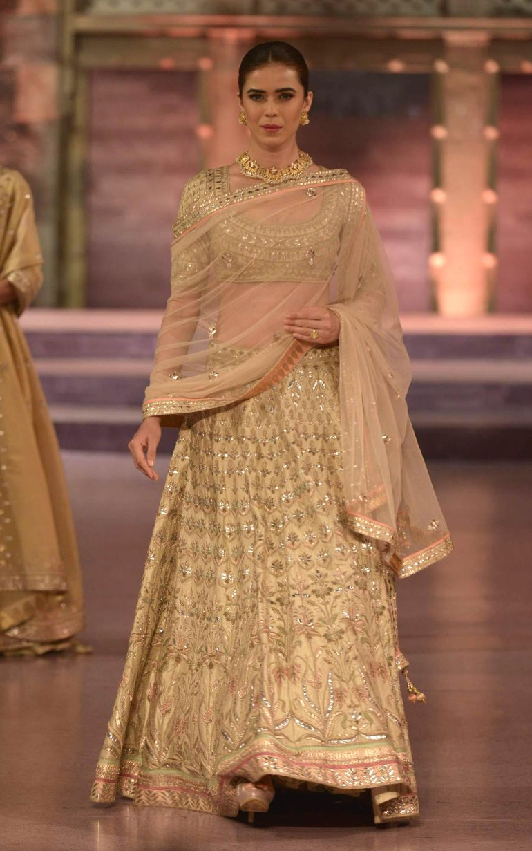 Champagne lehenga with heavy gota patti work and peach border - Anita Dongre - Make in India 2016
