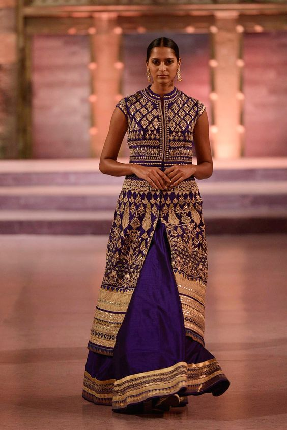 Fully embroidered purple jacket with raw silk lehenga - Anita Dongre - Make in India 2016