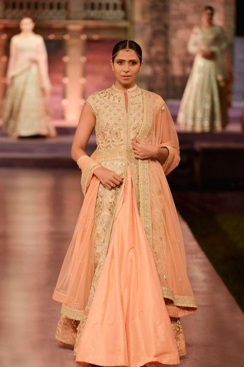 Heavily embroidered champagne jacket with peach skirt - Anita Dongre - Make in India 2016