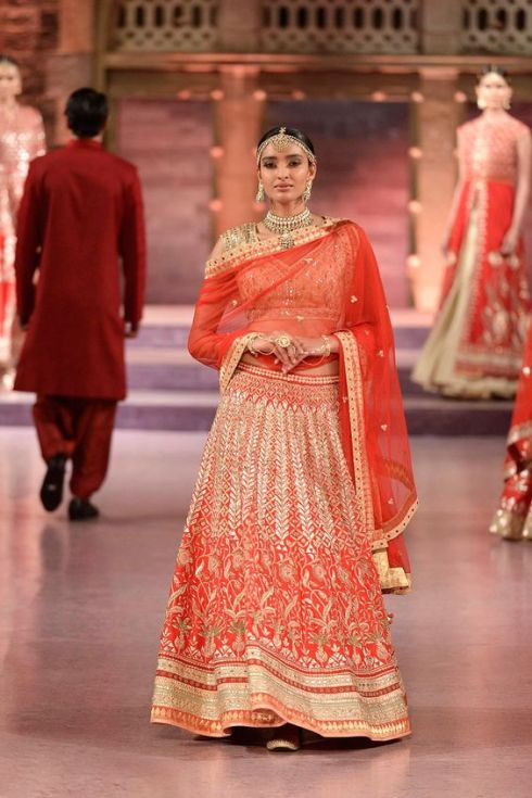 Heavily embroidered red gota patti and zardosi raw silk lehenga and choli - Anita Dongre - Make in India 2016