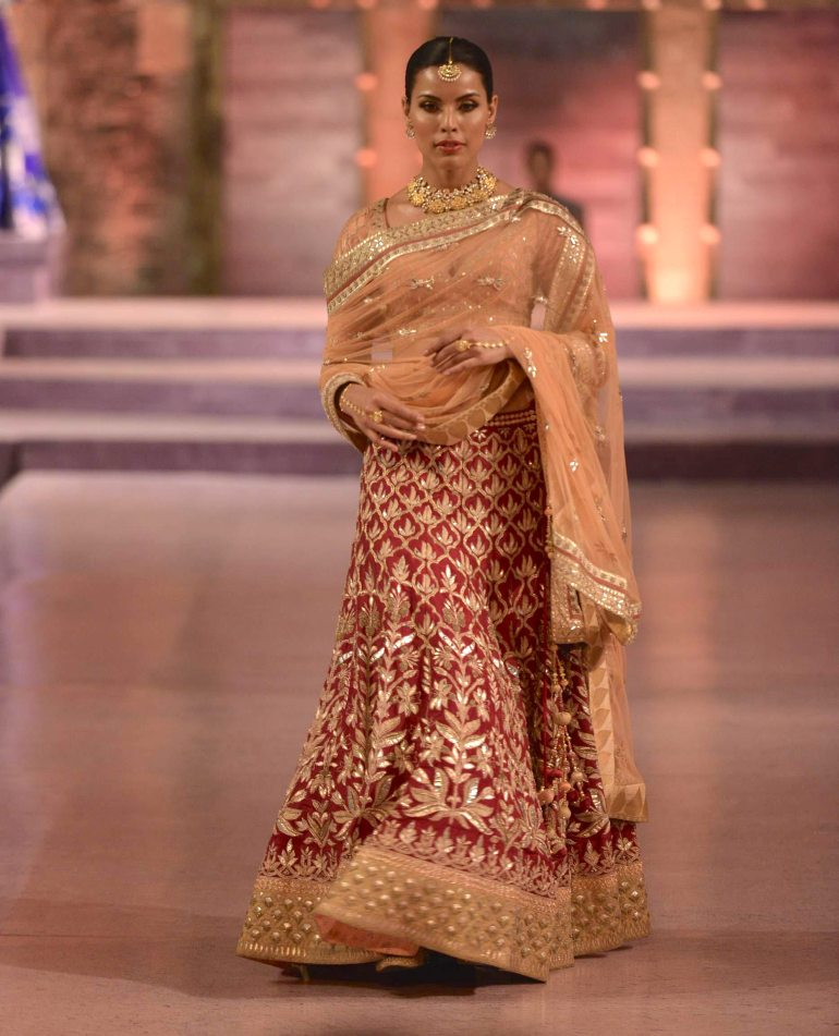 Heavy bridal red lehenga in gota patti with peach blouse - Anita Dongre - Make in India 2016