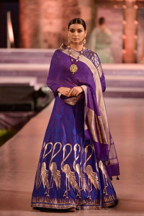 Indigo lehenga and purple choli dupatta with rich Banaras hand-woven work - Anita Dongre - Make in India 2016