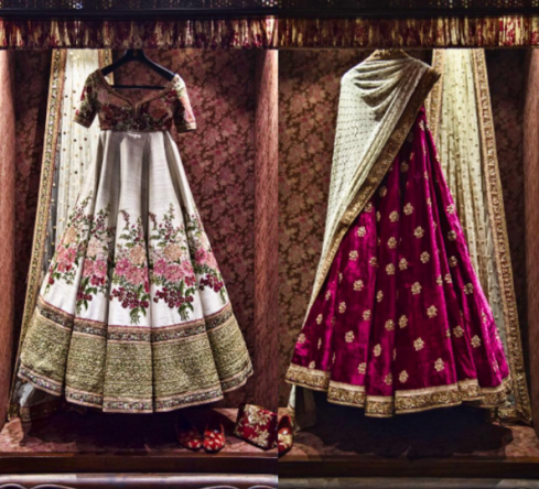 Inside the store - floral and maroon velvet lehenga - Sabyasachi Spring Summer Weddings 2016 collection