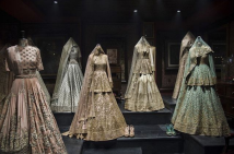 Inside the store - Mint, pastel pink & ivory lehengas - Sabyasachi Spring Summer Weddings 2016 collection