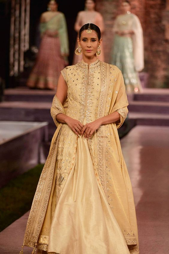 Nude gold silk embroidered jacket with lehenga - Anita Dongre - Make in India 2016