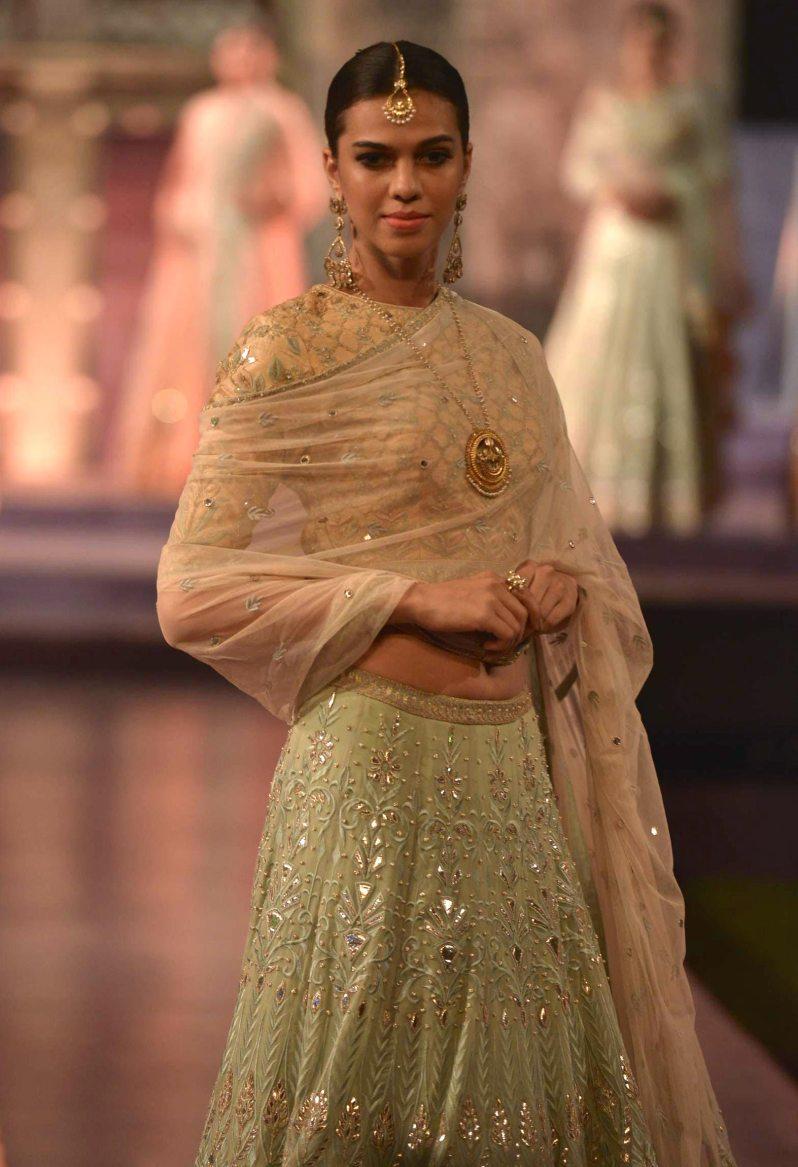 Pastel lehenga with gota patti embroidery - Anita Dongre - Make in India 2016