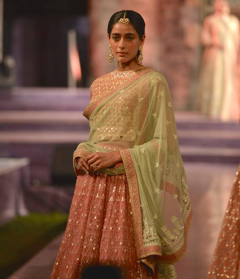 Peach gota patti lehenga with pastel green dupatta - Anita Dongre - Make in India 2016