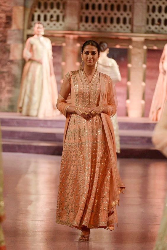 Peach raw silk gown with heavy gota patti work - Anita Dongre - Make in India 2016