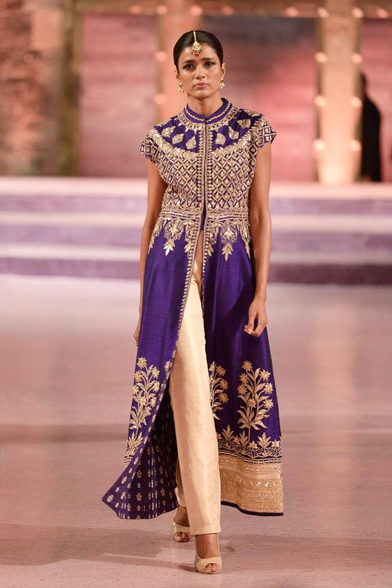 Purple gota patti jacket with gold trousers - Anita Dongre - Make in India 2016