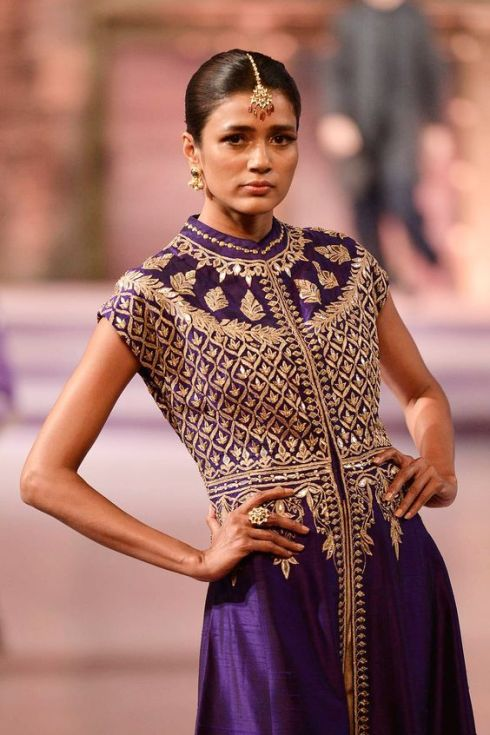 Purple gota patti jacket with gold trousers - details - Anita Dongre - Make in India 2016