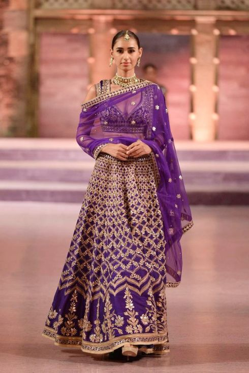 Purple raw silk lehenga with mughal oji motifs - Anita Dongre - Make in India 2016