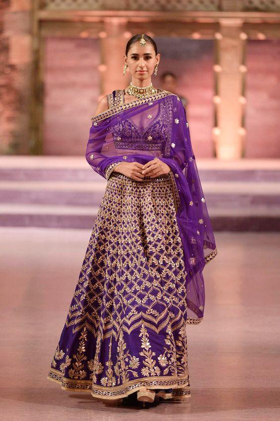 Purple raw silk lehenga with mughal oji motifs - Anita Dongre - Make in India 2016
