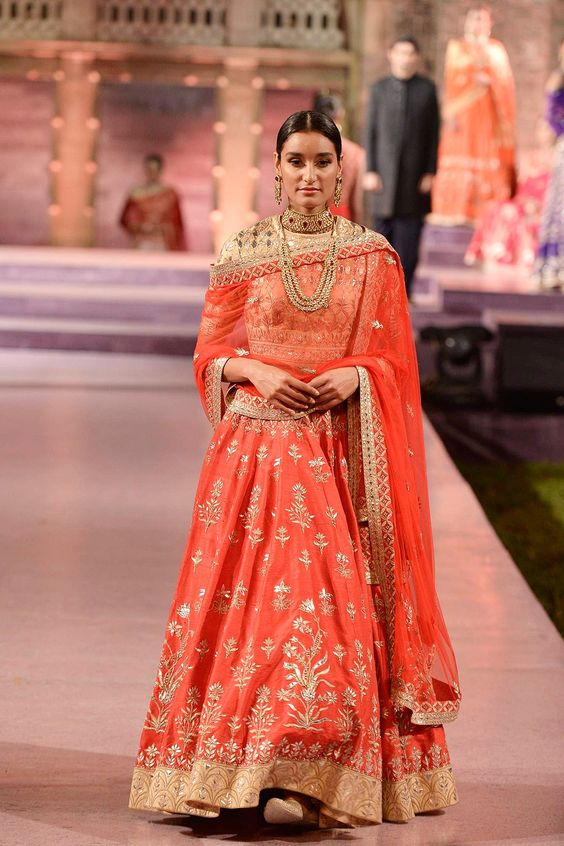 Red gota patti and zardosi raw silk lehenga - Anita Dongre - Make in India 2016