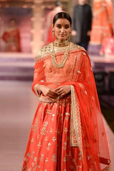 Red gota patti and zardosi raw silk lehenga closeup - Anita Dongre - Make in India 2016