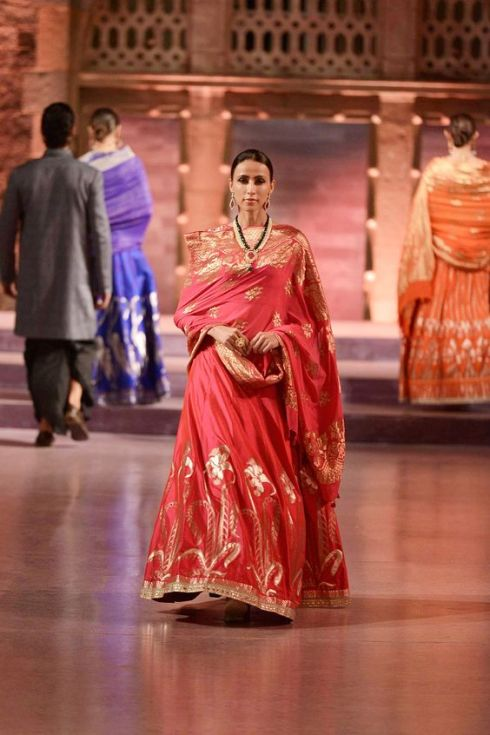 Red lehenga with rich Banaras hand-woven work - Anita Dongre - Make in India 2016