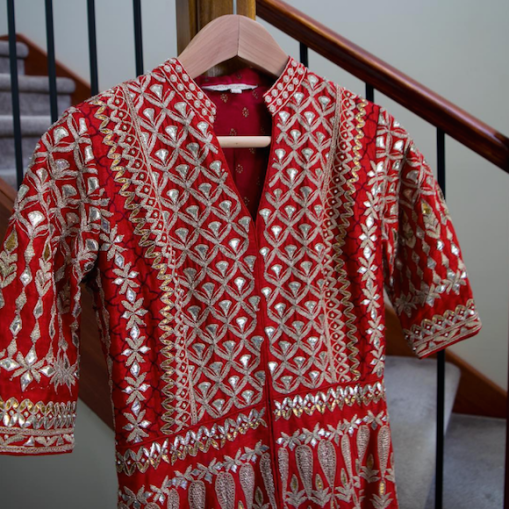 Red raw silk jacket anarkali with heavy gota patti work - Anita Dongre - Make in India 2016
