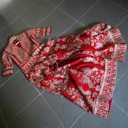 Red raw silk jacket anarkali with heavy gota patti work full length- Anita Dongre - Make in India 2016