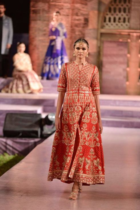 Red raw silk jacket with nude trousers - Anita Dongre - Make in India 2016