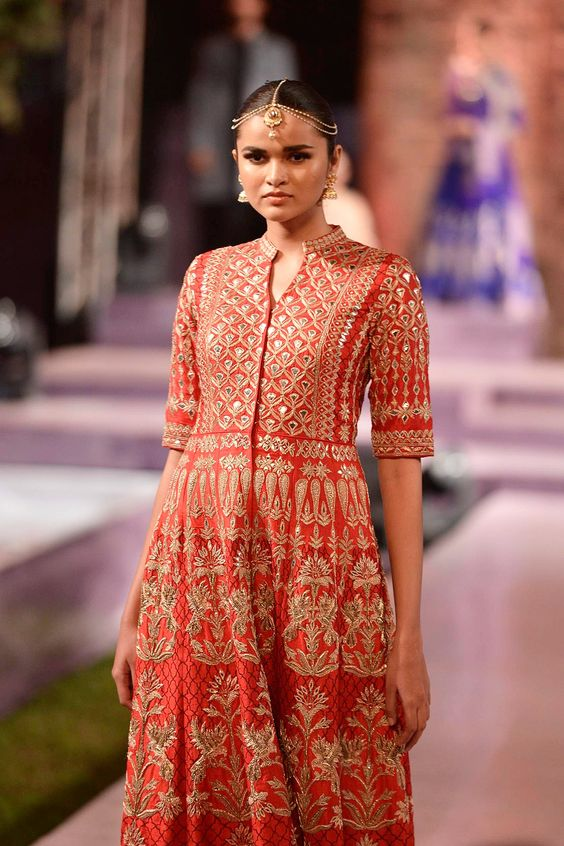 Red raw silk jacket with nude trousers - Details - Anita Dongre - Make in India 2016