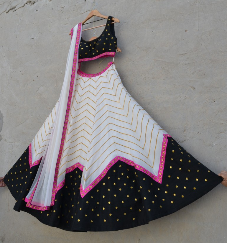 Black and ivory lehenga with pink zig zag line - Priyal Prakash Summer 2016 collection