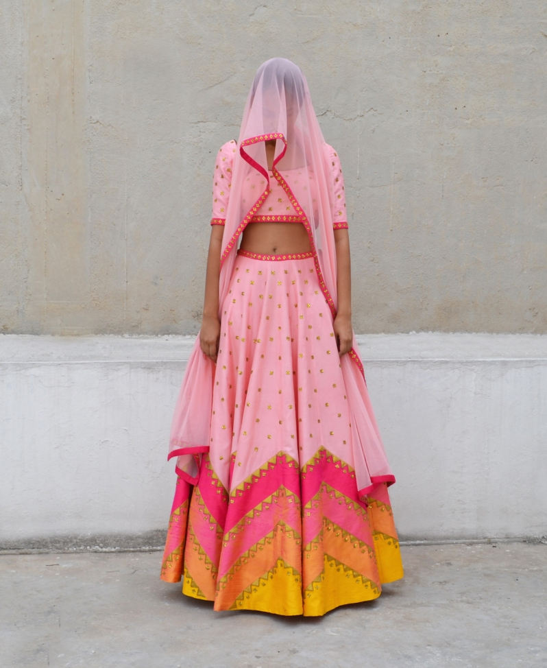 Dark and light pink two tone zig zag lines lehenga with sequin motifs - Priyal Prakash Summer 2016 collection