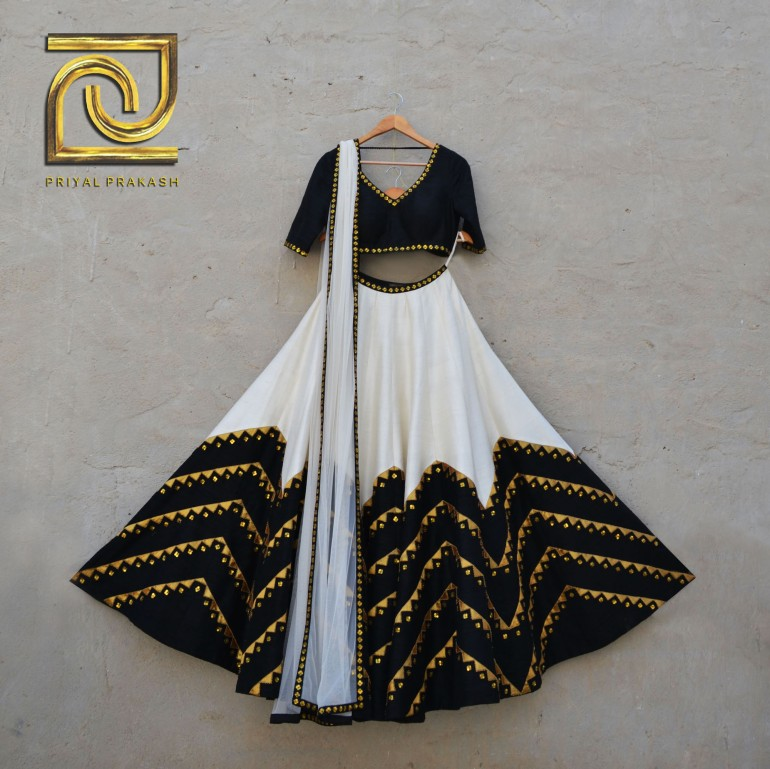 Ivory and black zig zag lines with gold sequin work - Priyal Prakash Summer 2016 collection