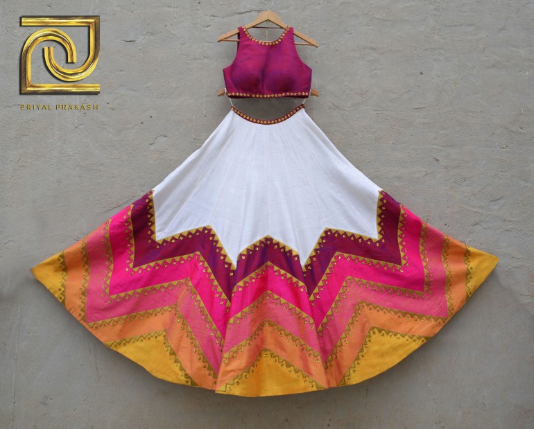 Ivory and pink lehenga with colourful zig zag lines - Priyal Prakash Summer 2016 collection