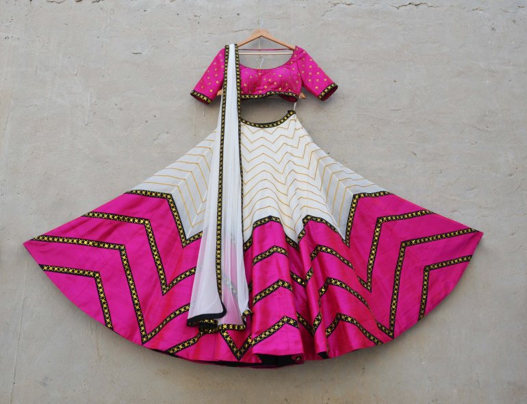 Ivoy and pink lehenga with pink zig zag lines - Priyal Prakash Summer 2016 collection
