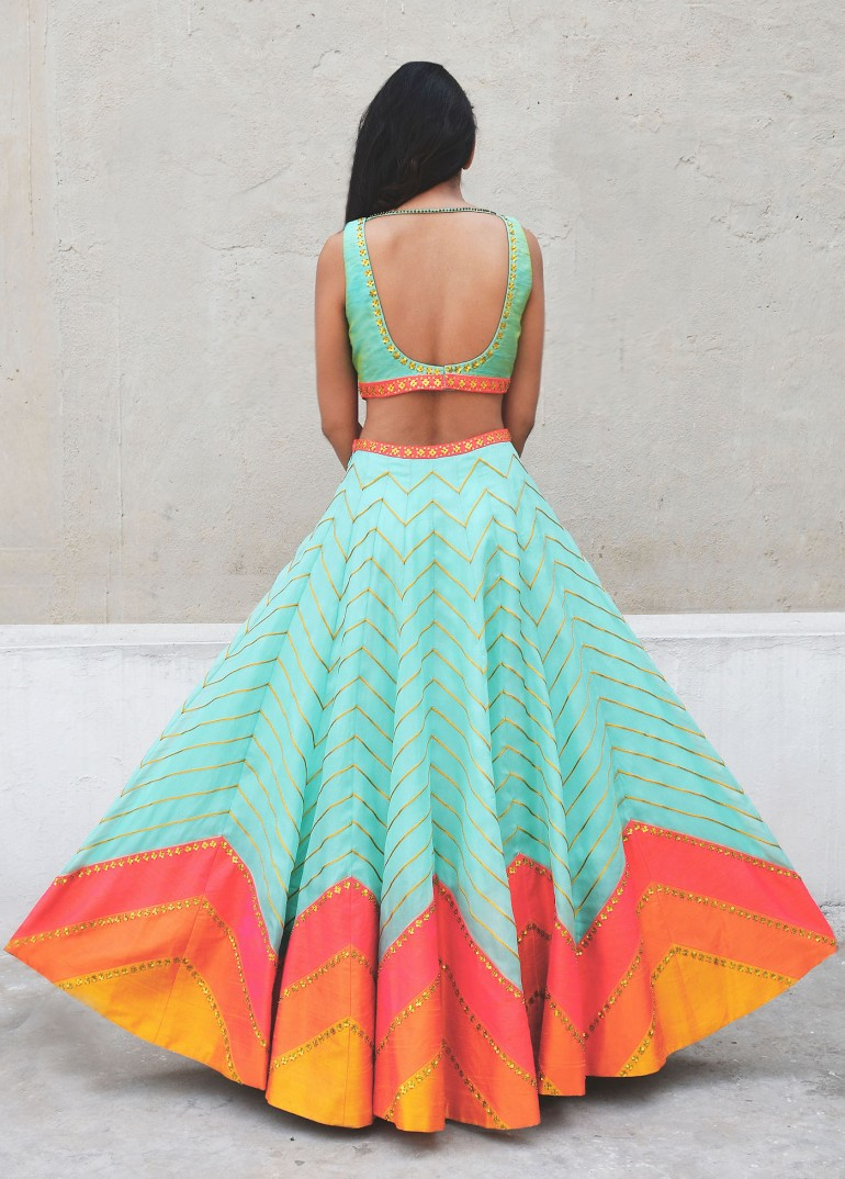 Mint lehenga with pink zig zag lines - back - Priyal Prakash Summer 2016 collection