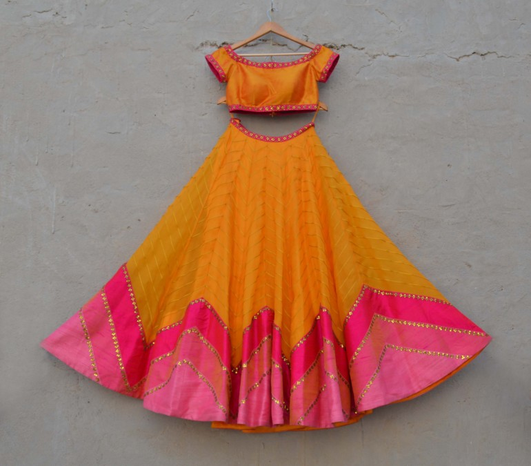 Orange and pink two tone lehenga with sequin motifs - Priyal Prakash Summer 2016 collection